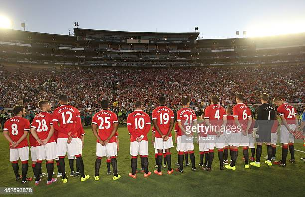 The Manchester United team line up ahead of the preseason friendly match between LA Galaxy and Manchester United at Rose Bowl on July 23 2014 in...