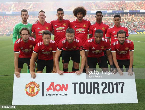 The Manchester United team line up ahead of the preseason friendly match between LA Galaxy and Manchester United at StubHub Center on July 15 2017 in...