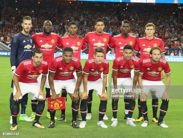The Manchester United team line up ahead of the preseason friendly International Champions Cup 2017 match between Manchester United and Manchester...