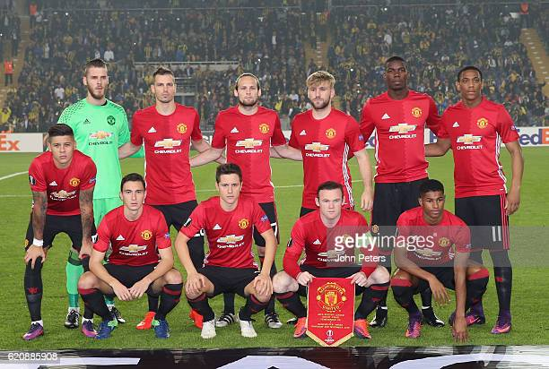 The Manchester United team line up ahead of the UEFA Europa League match between Manchester United and Fenerbahce at sukru Saracoglu Stadium on...