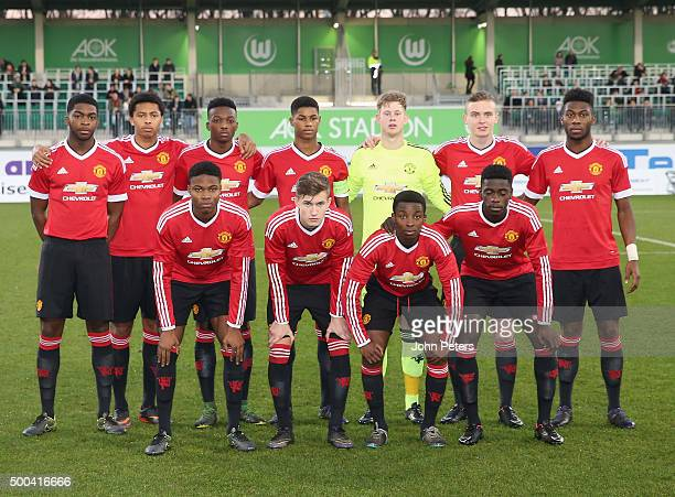The Manchester United team line up ahead of the UEFA Youth League match between VfL Wolfsburg U19s and Manchester United U19s at AOK Stadium on...