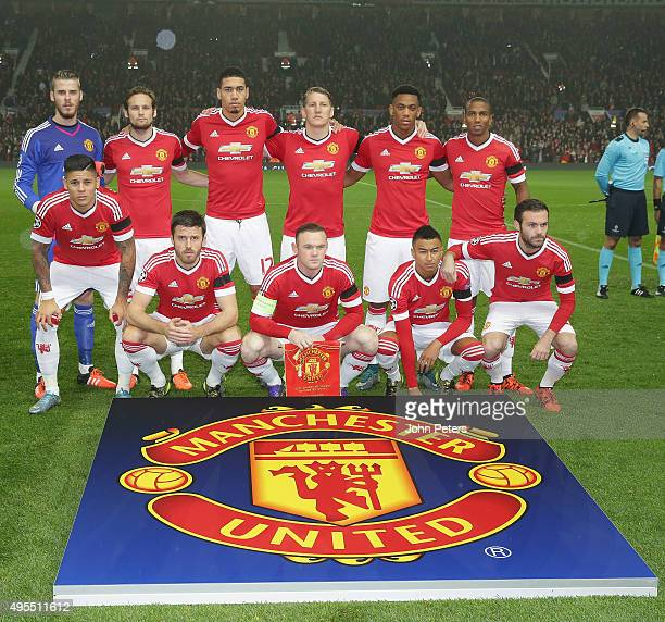 The Manchester United team lines up ahead of the UEFA Champions League match between Manchester United and CSKA Moscow at Old Trafford on November 3...