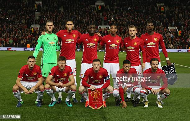 The Manchester United team lines up ahead of the UEFA Europa League match between Manchester United FC and Fenerbahce SK at Old Trafford on October...