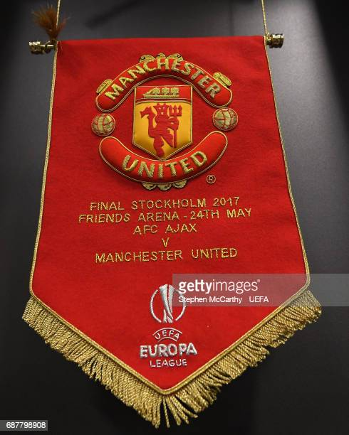 The Manchester United team pennant is seen in the changing room prior to the UEFA Europa League Final between Ajax and Manchester United at Friends...