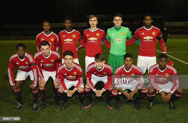 The Manchester United U18 team line up ahead of the FA Youth Cup fourth round match between Manchester United U18s and Chelsea U18s at J Davidson...