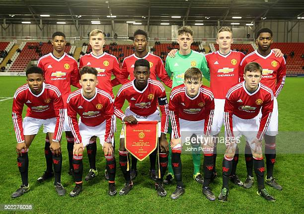 the Manchester United U18s team line up ahead of the FA Youth Cup third round match between Manchester United U18s and Queens Park Rangers U18s at...