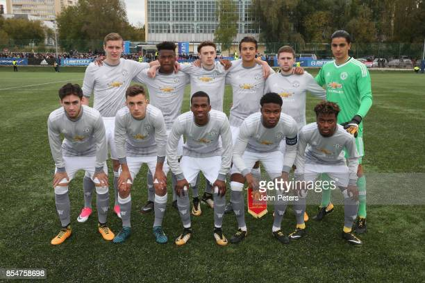 The Manchester United U19s team lines up ahead of the UEFA Youth League match between CSKA Moskva U19s and Manchester United U19s at Oktyabr Stadium...