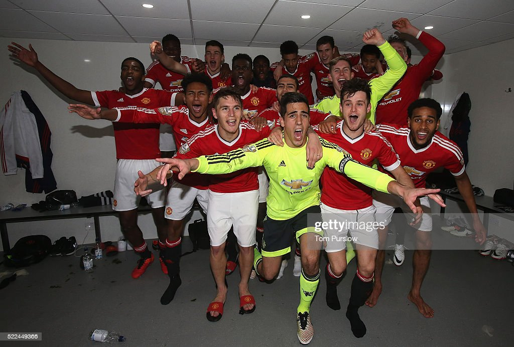 The Manchester United U21s squad celebrate winning the U21s League after the Barclays U21 Premier League match between Tottenham Hotspur U21s and Manchester United U21s at White Hart Lane on April 19, 2016 in London, England.