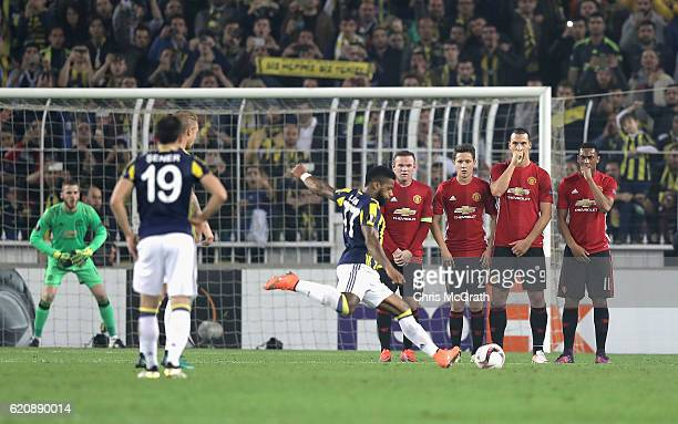 The Manchester United wall look on as Jeremain Lens of Fenerbahce scores his sides second goal during the UEFA Europa League Group A match between...