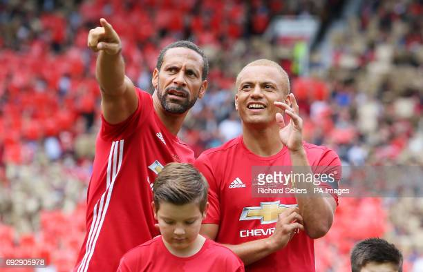 The Manchester United's Rio Ferdinand and Wes Brown before kickoff