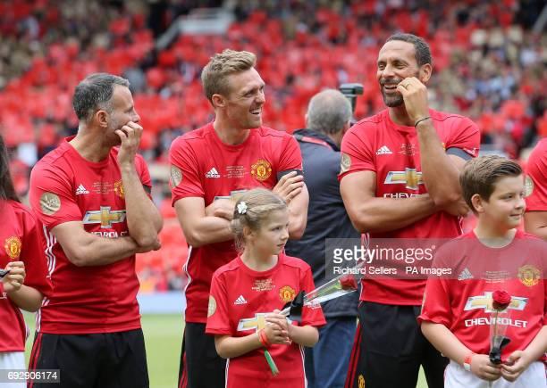 The Manchester United's Ryan Giggs Darren Fletcher and Rio Ferdinand before kickoff