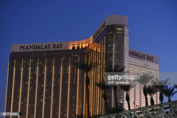 The Mandalay Bay Hotel and Casino that Stephen Paddock fired from is seen in the evening in thein Las Vegas Nevada on October 4 2017 The attack that...