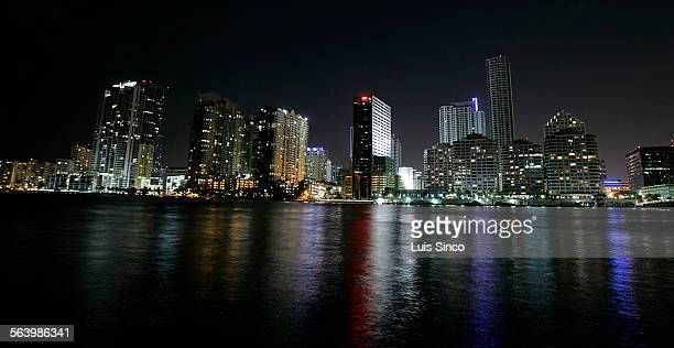 BEACH FL – JAN 18 2008 The Mandarin Oriental Hotel in Miami Beach provides stunning day and night views of the Brickell financial district amid the...