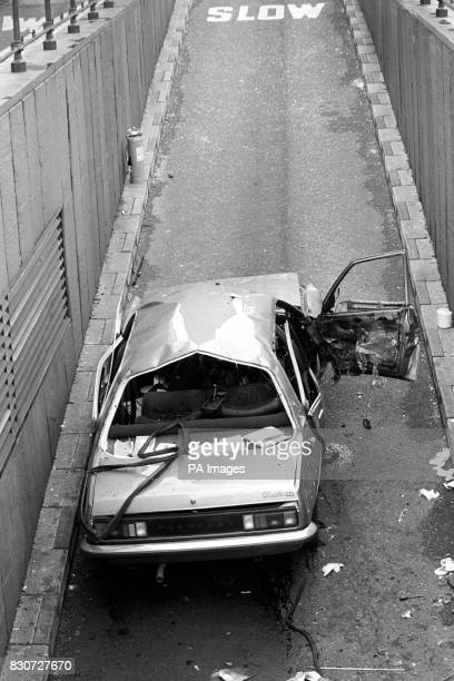 The Mangled remains of the blue Vauxhall car ripped apart by a bomb explosion which killed Mr Airey Neave 63year old Tory spokesman on Northern...