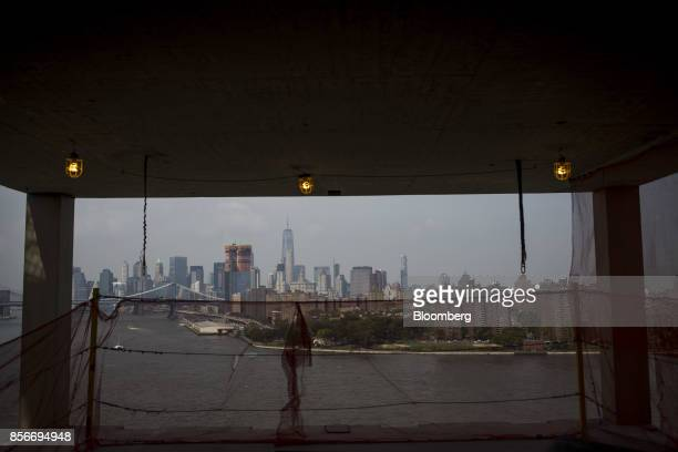 The Manhattan skyline is seen from the 416 Kent Avenue apartment development under construction in the Williamsburg neighborhood of the Brooklyn...
