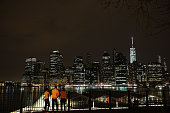 The Manhattan skyline is viewed from Brooklyn on May 5 2015 in New York City In an effort to reduce Manhattan's carbon footprint New York's City...