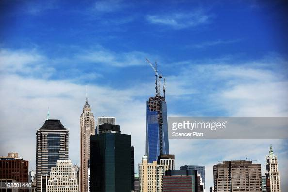 The Manhattan skyline with One World Trade Center now the tallest building in the United States is viewed on May 10 2013 in New York City After more...