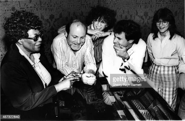 The Manhattan Transfer rehearse with jazz singer Ella Fitzgerald for their performance att the Grammy Awards in 1983 in Los Angeles California