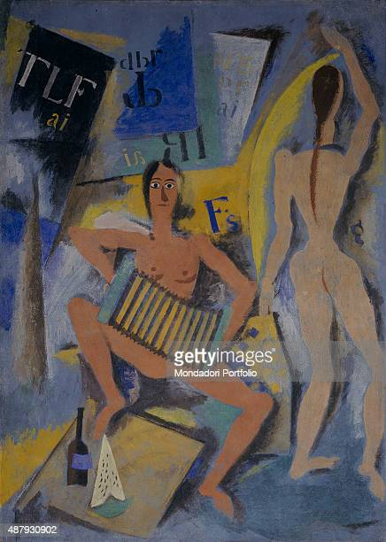 The Mannequin Room by Ardengo Soffici 20th Century fresco Private collection Whole artwork view Two female figures naked on a background whichreminds...