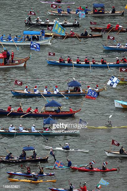 The manpowered section of the flotilla as seen from The Monument participate in The Diamond Jubilee Pageant on the River Thames on June 3 2012 in...