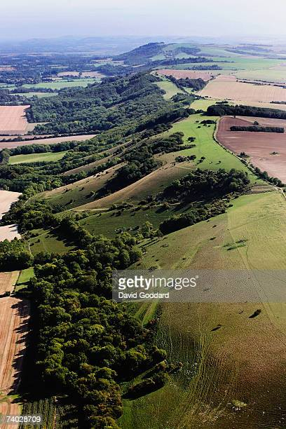 The many ridges and contours of these chalk hills make up part of the South Downs in this aerial photo taken on 20th September 2006