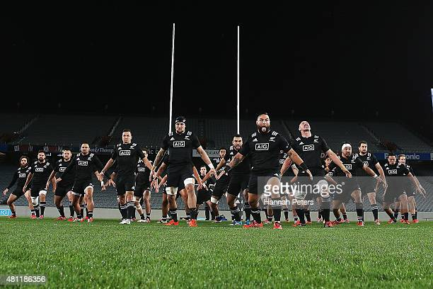 The Maori All Blacks perform the haka prior to the match between the New Zealand Maori All Blacks and the New Zealand Barbarians at Eden Park on July...