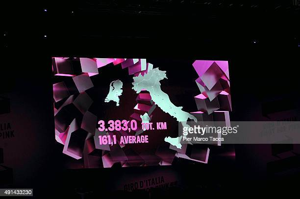 The map of the Tour of Italy 2016 is dislayed during the presentation of Giro D'Italia on October 5 2015 in Milan Italy