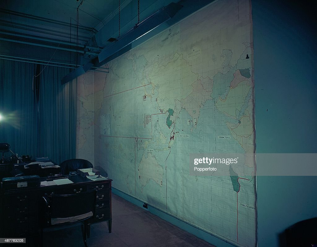 1945 The Map Room at the British Cabinet War Rooms at Storey's Gate now the Churchill War Rooms London England September 1945