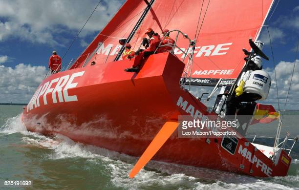 The MAPFRE crew compete in preliminary heats during Aberdeen Asset Management Cowes Week on August 1 2017 in Cowes England
