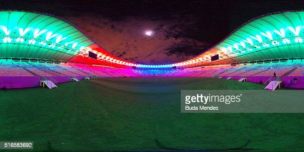 The Maracana Stadium is seen before the 2016 Earth Hour event on March 19 2016 in Rio de Janeiro Brazil The Maracana Stadium will host the Opening...