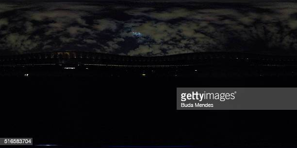 The Maracana Stadium is seen with its lights off during the 2016 Earth Hour event on March 19 2016 in Rio de Janeiro Brazil The Maracana Stadium will...