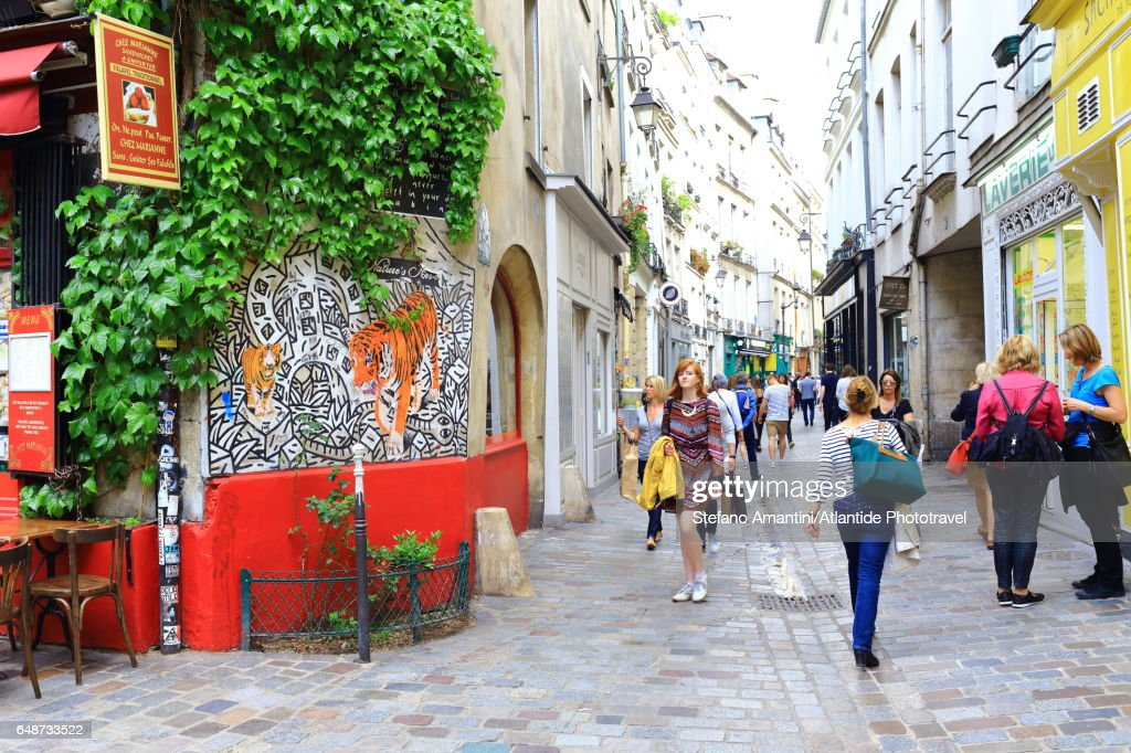 The Marais, city life : Stock Photo