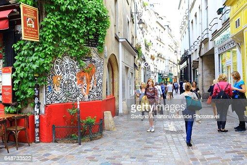 The Marais, city life : Stock Photo