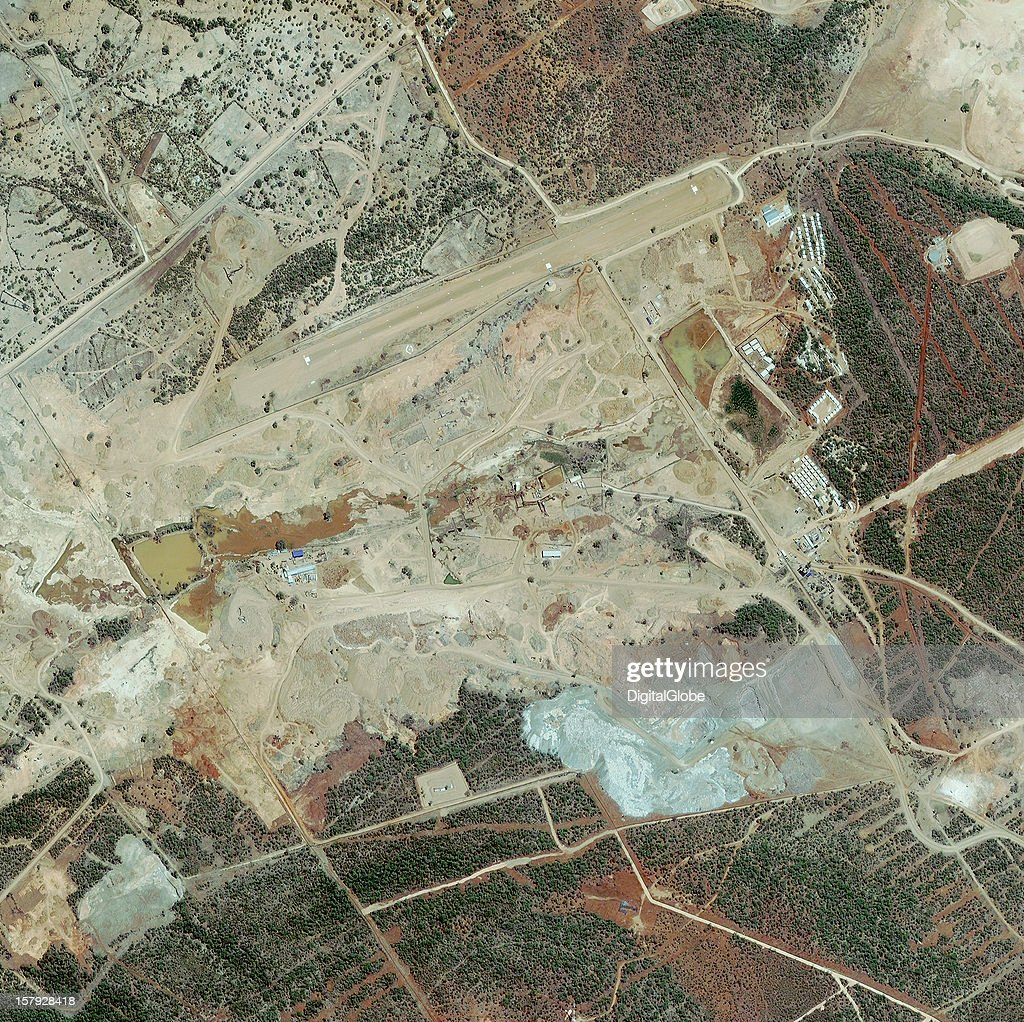 The Marange diamond fields are located in eastern Zimbabwe near Chiadzwa village as seen on this satellite image of the mine and airstrip from November 12, 2012. The Marange diamond fields, reportedly one of the largest diamond finds in the century, are controversial due to accusations of egregious human rights violations, smuggling and corruption.