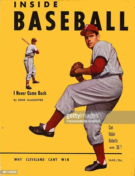 NEW YORK MARCH 1951 The March 1951 issue of Inside Baseball magazine features Robin Roberts in large size on the cover and Enos Slaughter in the small