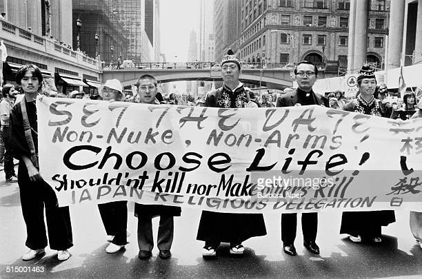 The March and Rally for Peace and Disarmament an antinuclear protest in New York City 12th June 1982 Here members of the Japanese Religious...