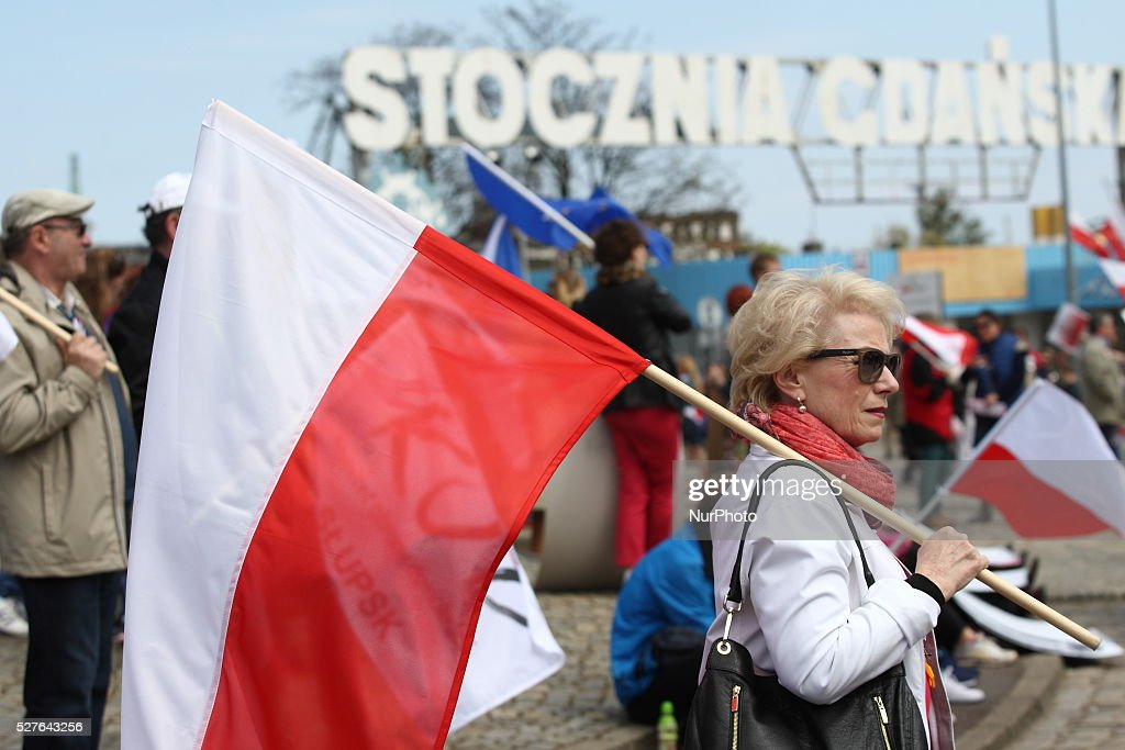 The 'March of Pissed' in Gdansk organized by the KOD - Committee for the Defence of Democracy, in Gdansk, Poland, on May 3, 2016. People protest against Law and Justices ruling party attempt to change constitutional law. People hold Polish and EU flags and banners that say : ' Good Change ? - NO! ' reffering to ruling party slogan ' Good change '.