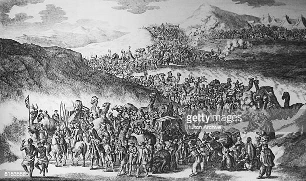 The march of the Great Caravan from Cairo to Mecca in Saudi Arabia taking thousands of Muslims on their pilgrimage 1778 Engraved for Middleton's...
