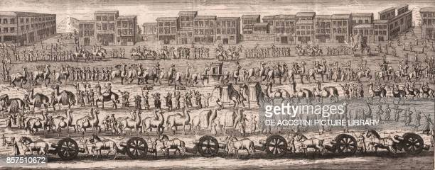 The march of the Great Caravan from Cairo to Mecca taking thousands of Muslims on their pilgrimage copper engraving ca 35x16 cm from Lo stato...