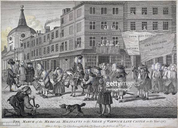 'The March of the Medical Militants to the siege of Warwick Lane Castle' London 1768 showing figures on horses playing musical instruments and...