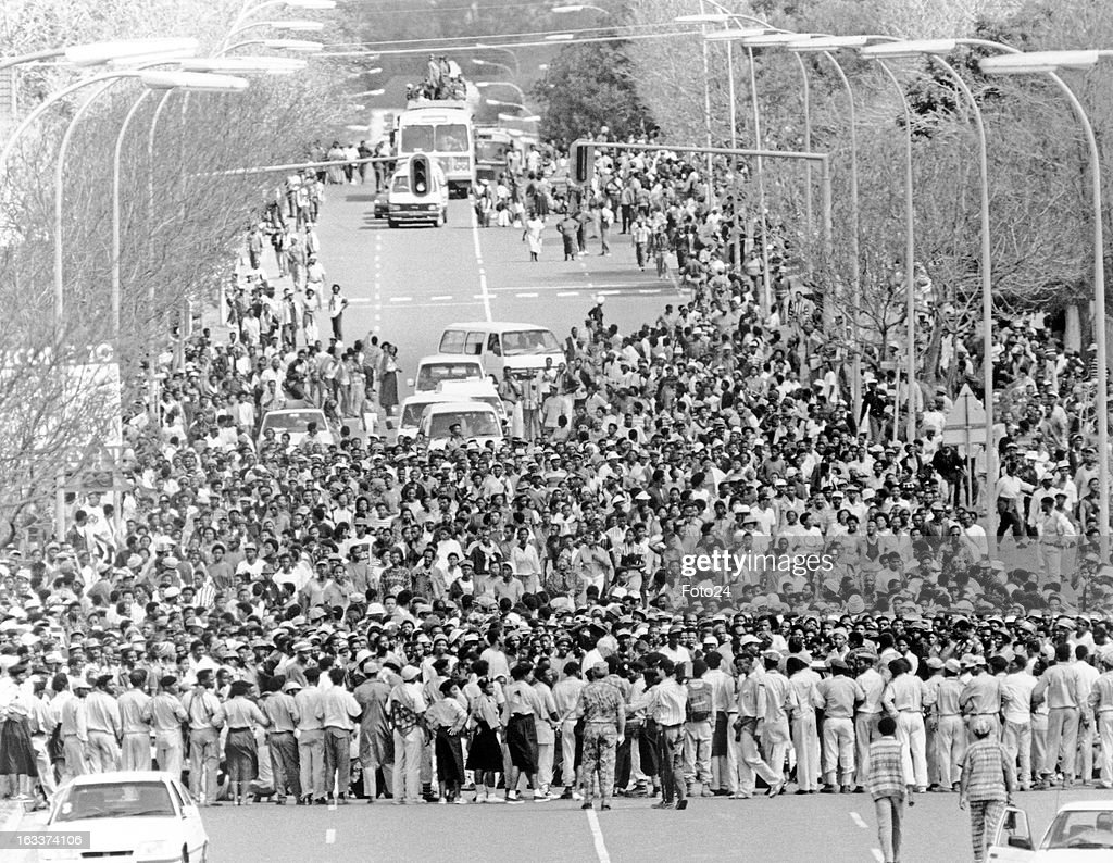The march towards Bisho on September 18, 1992 in the Eastern Cape, South Africa. There were 80 000 protesters at the march of which 29 people were killed.