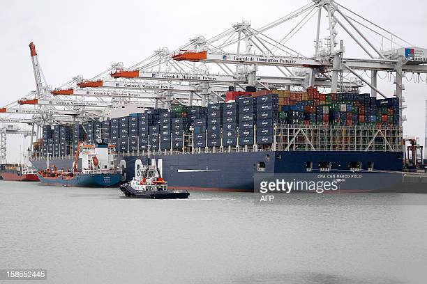 The Marco Polo flying a British flag and said to be the world's biggest container ship by French owners CMA CGM is moored in the port of Le Havre...