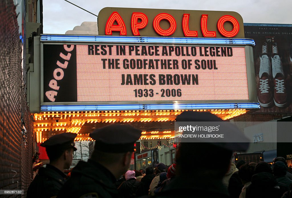 The marguee at the Apollo Theater announces James Brown's death Thousands of James Brown fans stood in line to pay homage to the legendary 'Godfather...