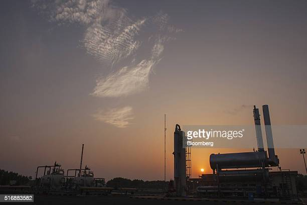 The Mari Petroleum Co plant stands at sunset in Daharki Sindh Pakistan on Thursday March 17 2016 New additional output of 110 million standard cubic...