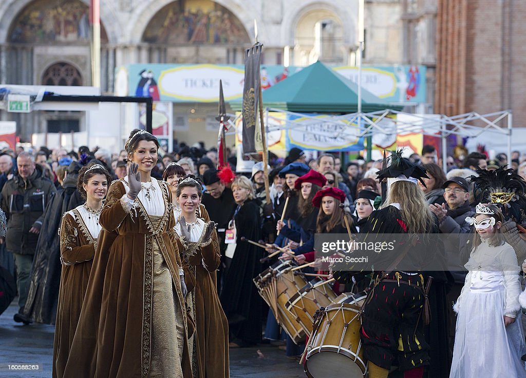 The Marie are presented on stage in Saint Mark's Square for the official opening of the Venice Carnival 2013 on February 3, 2013 in Venice, Italy. The 2013 Carnival of Venice will run from January 26 - February 12 and includes a program of gala dinners, parades, dances, masked balls and music events.