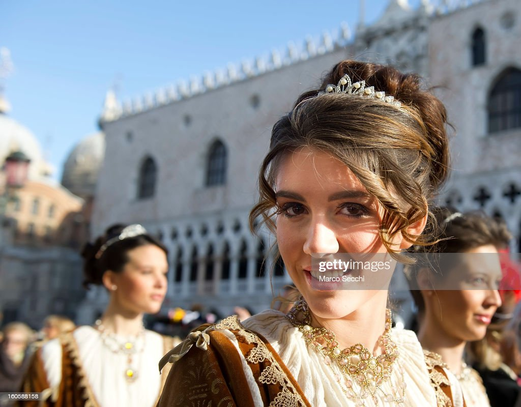 The Marie walk in front of Saint Mark's for the official opening of the Venice Carnival 2013 on February 3, 2013 in Venice, Italy. The 2013 Carnival of Venice will run from January 26 - February 12 and includes a program of gala dinners, parades, dances, masked balls and music events.