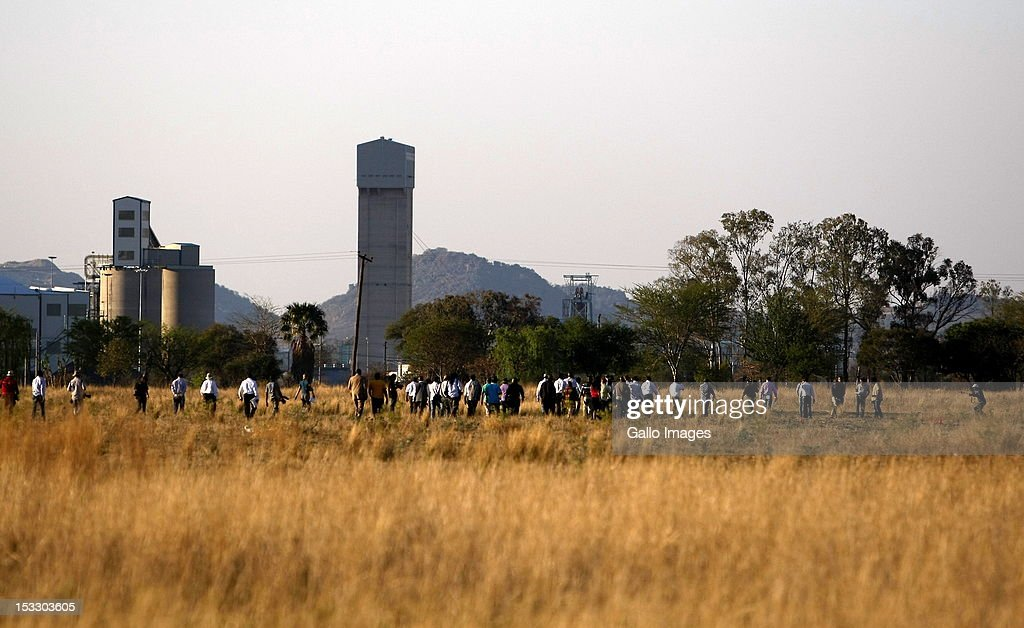 The Marikana Commission of Inquiry conducts a site inspection near the Lonmin Karee Mine on October 3, 2012 in Rustenburg, South Africa. The Commission which is investigating what led to the deaths of 46 people during a violent wage strike by Lonmin mine workers, has been delayed to allow lawyers to speak to the families of the victims.