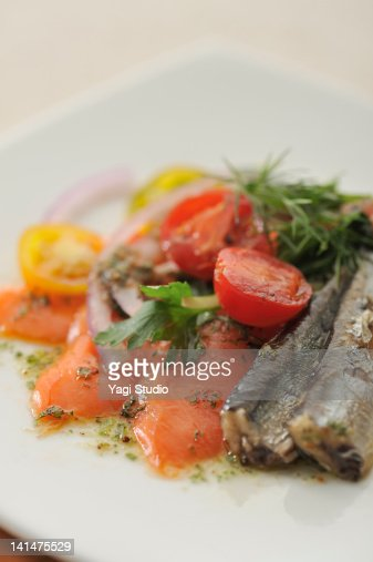 The marinade of the salmon and the sardine : Stock Photo