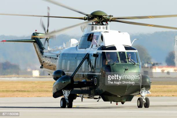 The Marine One carrying US President Donald Trump lands at Yokota Air Base on November 7 2017 in Fussa Tokyo Japan Trump is on 11day tour to Asia