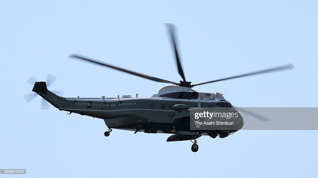 The Marine One, presidential helicopter carrying U.S. President Barack Obama flies to leave after the G7 Summit on the way to Hiroshima on May 27, 2016 in Shima, Mie, Japan. Obama becomes the first sitting U.S. president to visit Hiroshima, where the first atomic bomb was dropped in 1945 at the end of World War II.